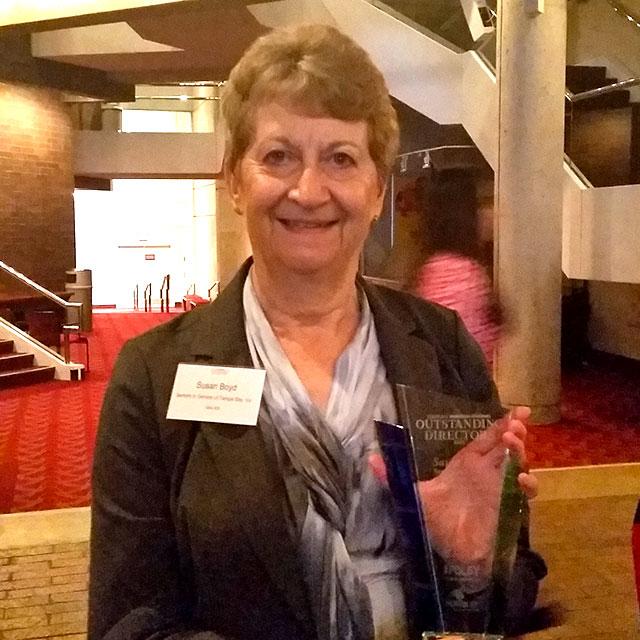 Board Chair Susan Boyd wins TBBJ Outstanding Director Award Nov. 19, 2015.