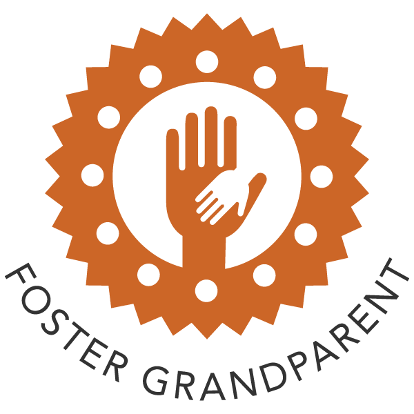 Foster Grandparent icon - hand holding a smaller hand within a gear.