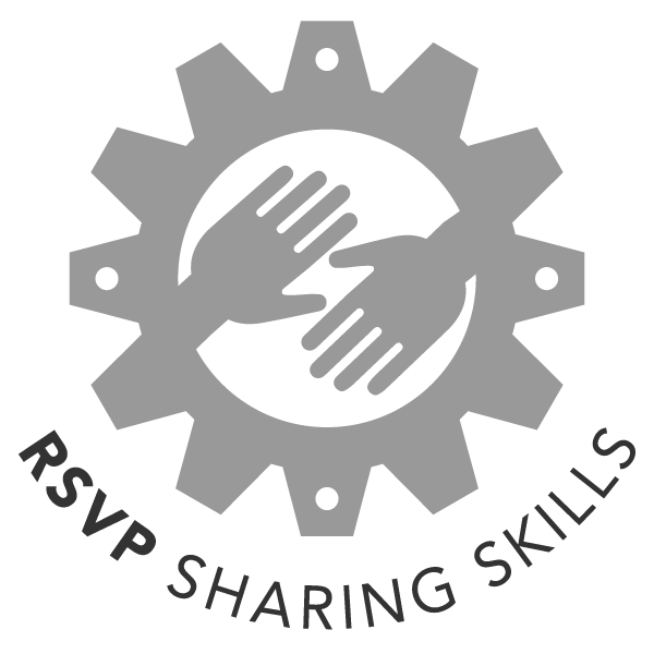 RSVP Sharing Icon - hands reaching toward each other within a sprocket