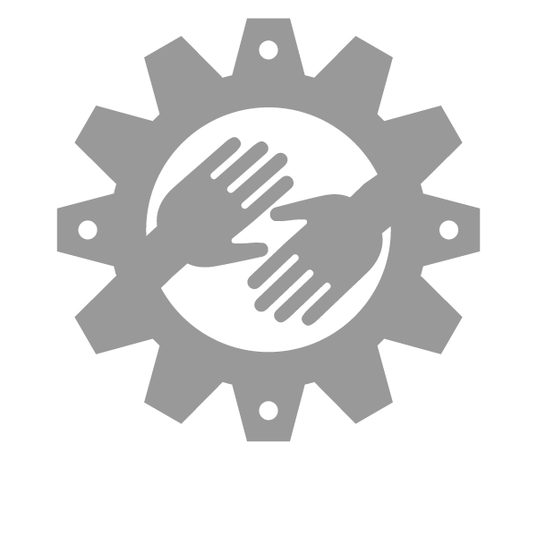 RSVP Sharing Icon - hands reaching toward each other within a gear