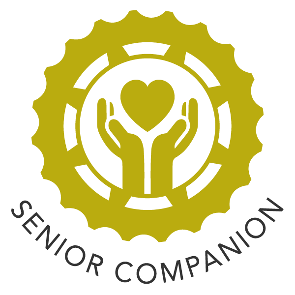 Senior companion icon - hands holding up heart within a gear